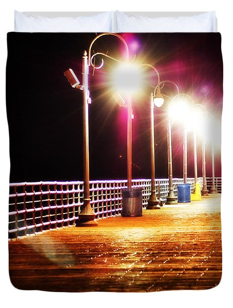 Santa Monica Pier At Night Duvet Cover