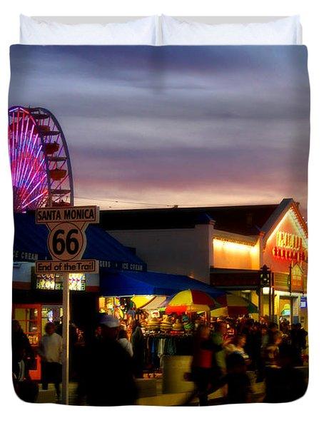 Santa Monica Pier At Sunset Duvet Cover by Diana Sainz