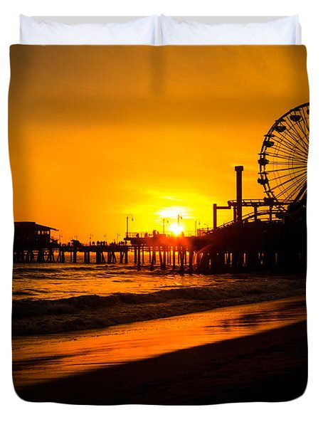 Santa Monica Pier California Sunset Photo Duvet Cover