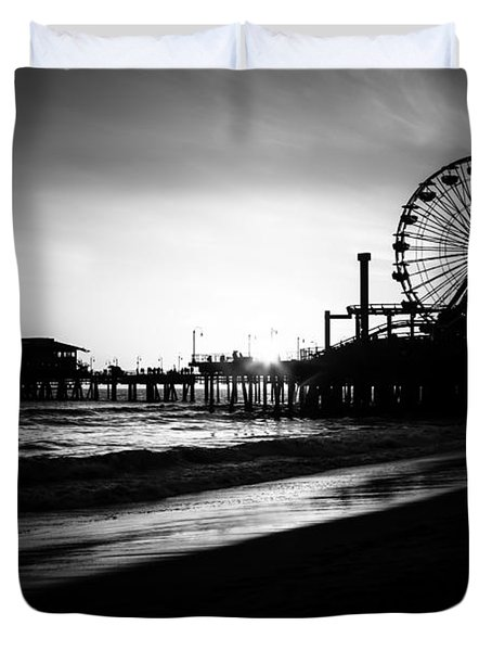 Santa Monica Pier In Black And White Duvet Cover