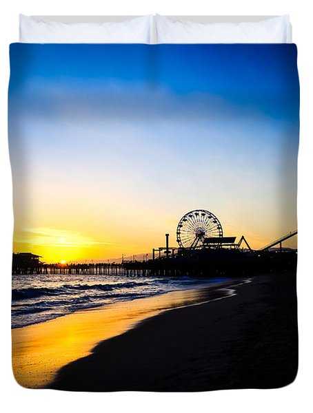 Santa Monica Pier Pacific Ocean Sunset Duvet Cover by Paul Velgos