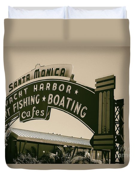 Santa Monica Pier Sign Duvet Cover by David Millenheft