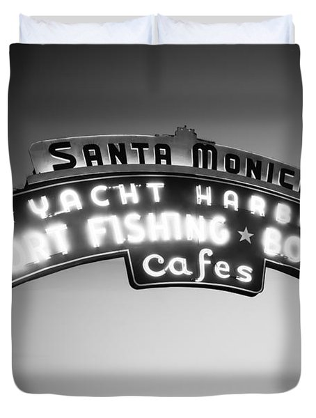Santa Monica Pier Sign In Black And White Duvet Cover by Paul Velgos