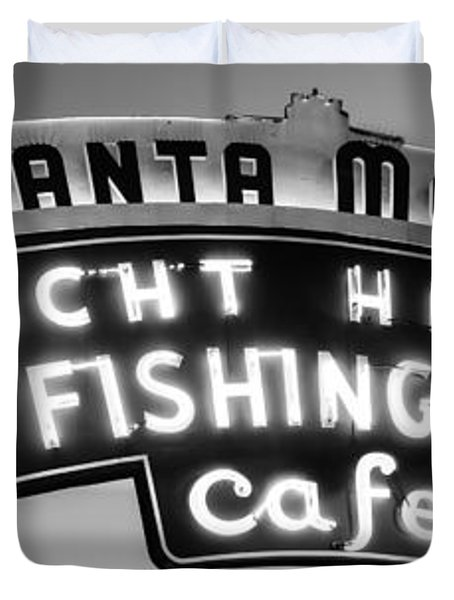 Santa Monica Pier Sign Panoramic Black And White Photo Duvet Cover