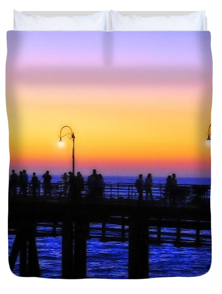 Santa Monica Pier Sunset Silhouettes Duvet Cover by Lynn Bauer
