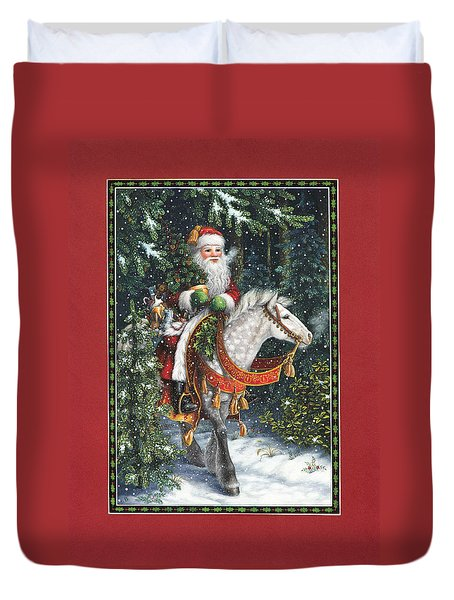 Santa Of The Northern Forest Duvet Cover