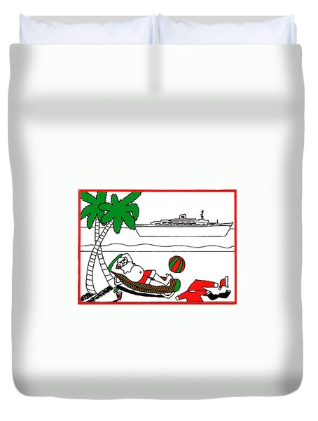 Santa On Vacation Duvet Cover by Genevieve Esson