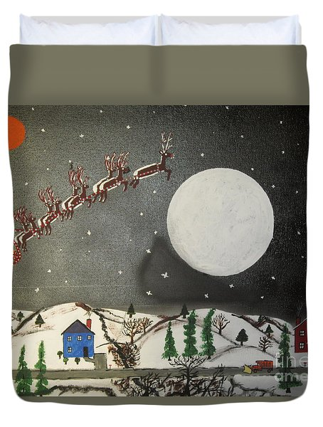 Duvet Cover featuring the painting Santa Over The Moon by Jeffrey Koss
