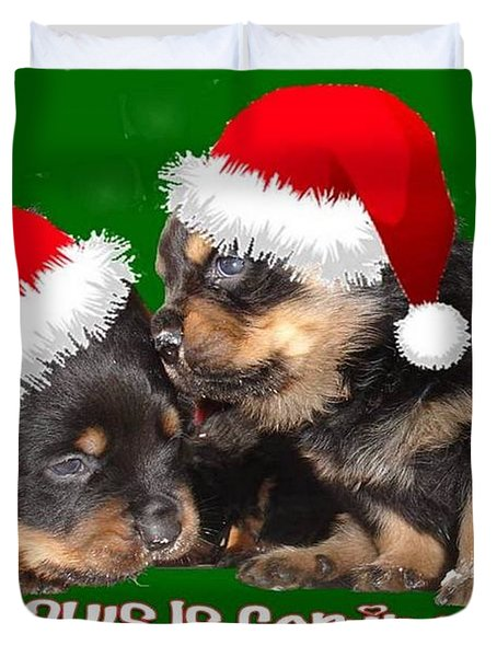 Santa Paws Is Coming To Town Christmas Greeting Duvet Cover by Tracey Harrington-Simpson