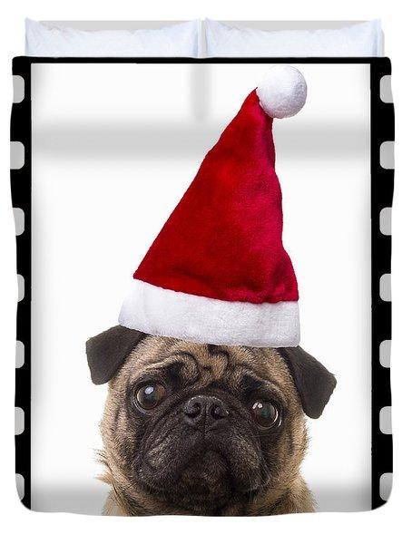 Santa Pug - Canine Christmas Duvet Cover by Edward Fielding