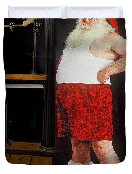 Santa Scaling Back Duvet Cover