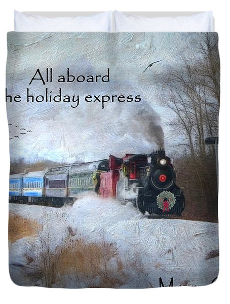Duvet Cover featuring the digital art Santa Train - Waterloo Central Railway by Lianne Schneider