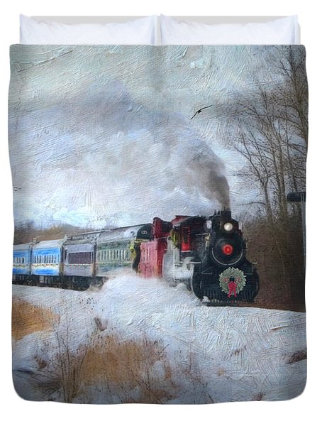 Duvet Cover featuring the digital art Santa Train - Waterloo Central Railway No Text by Lianne Schneider