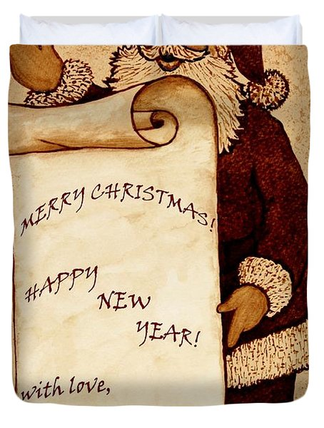Santa Wishes Digital Art Duvet Cover by Georgeta  Blanaru