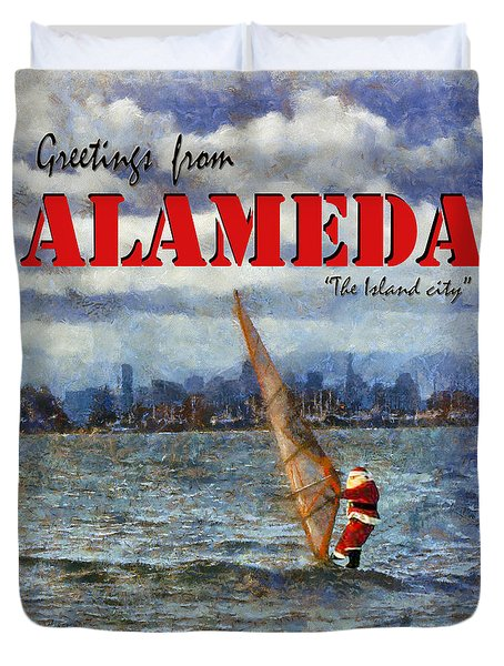 Alameda Santa's Greetings Duvet Cover by Linda Weinstock