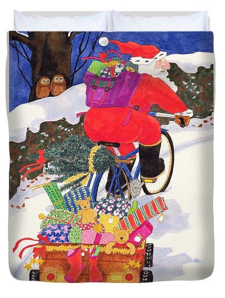 Santas Bike Duvet Cover by Linda Benton