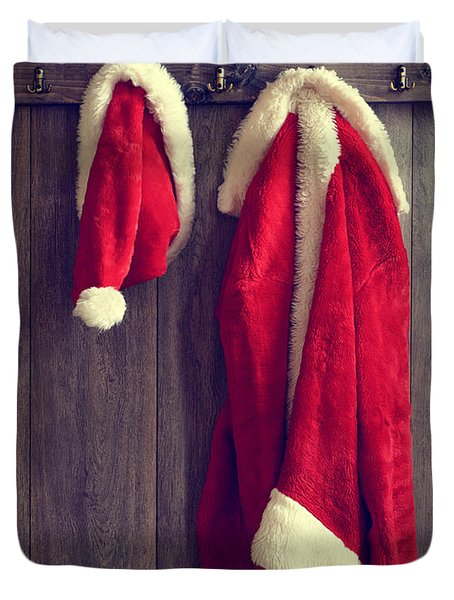 Santa's Hat And Coat Duvet Cover by Amanda Elwell
