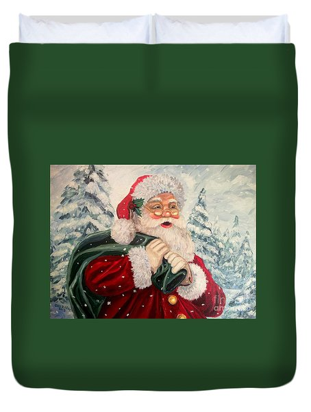 Santa's On His Way Duvet Cover