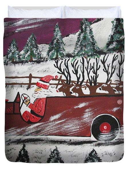 Santa's Truckload Of Reindeer  Duvet Cover