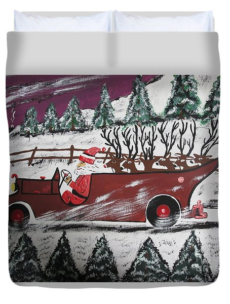 Duvet Cover featuring the painting Santa's Truckload by Jeffrey Koss