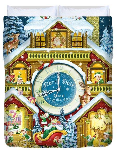 Santas Workshop Cuckoo Clock Duvet Cover