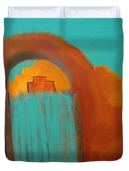 Duvet Cover featuring the painting Sante Fe by Keith Thue