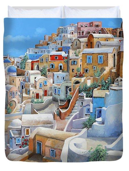 Santorini A Colori Duvet Cover