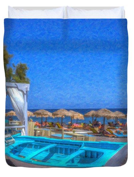 Santorini Beach Boat Grk4151 Duvet Cover