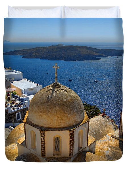 Santorini Caldera With Church And Thira Village Duvet Cover