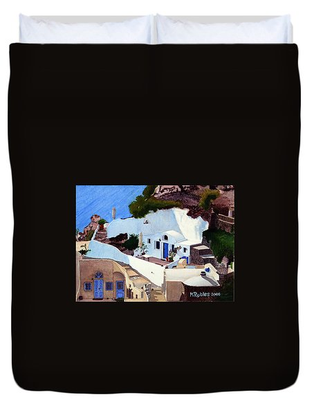 Santorini Cave Homes Duvet Cover by Mike Robles