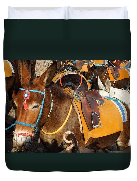 Santorini Donkeys Ready For Work Duvet Cover