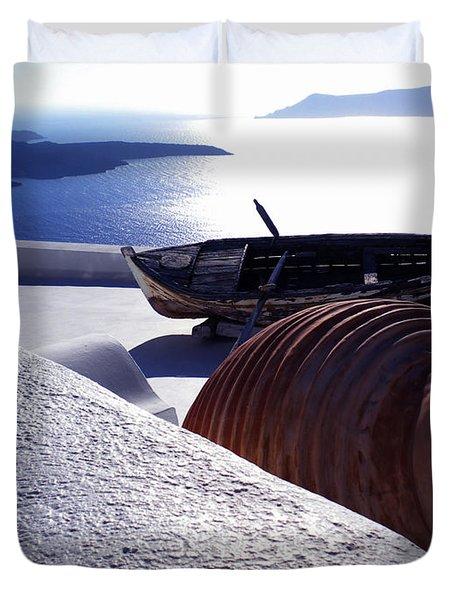 Santorini Island Early Sunset View Greece Duvet Cover