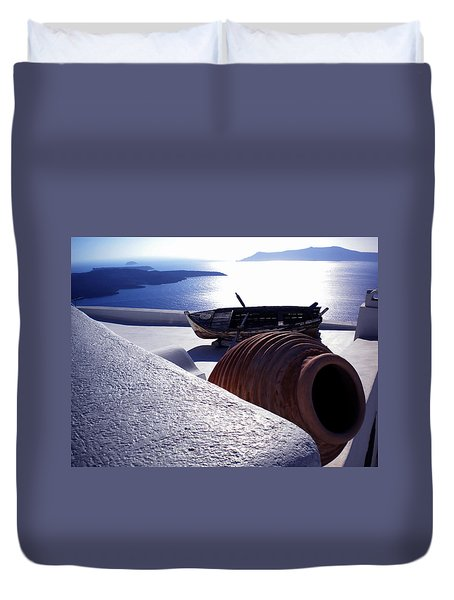 Duvet Cover featuring the photograph Santorini Island Early Sunset View Greece by Colette V Hera  Guggenheim