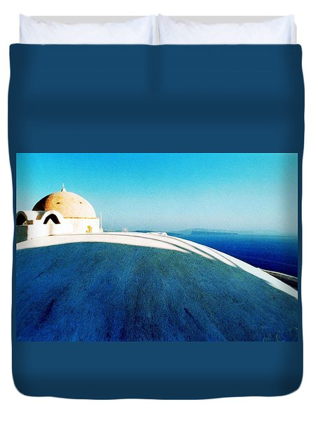 Duvet Cover featuring the photograph Santorini Island Greece by Colette V Hera  Guggenheim