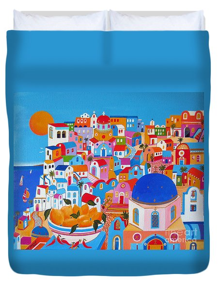 Santorini Lemons On A Sunny Day Duvet Cover