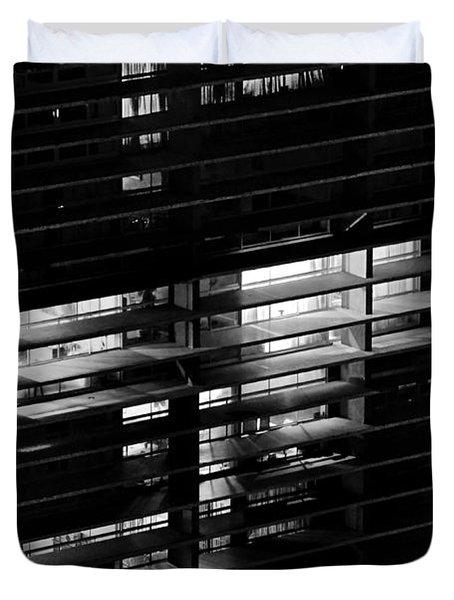 Sao Paulo - Brazil - Detail Of Copan Building By Night Duvet Cover by Carlos Alkmin