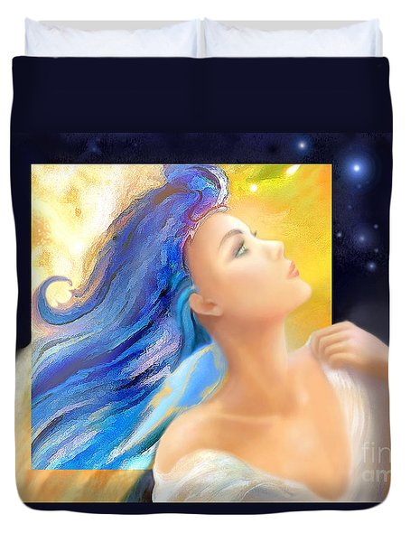 Duvet Cover featuring the painting Sapphire Charm by Michael Rock