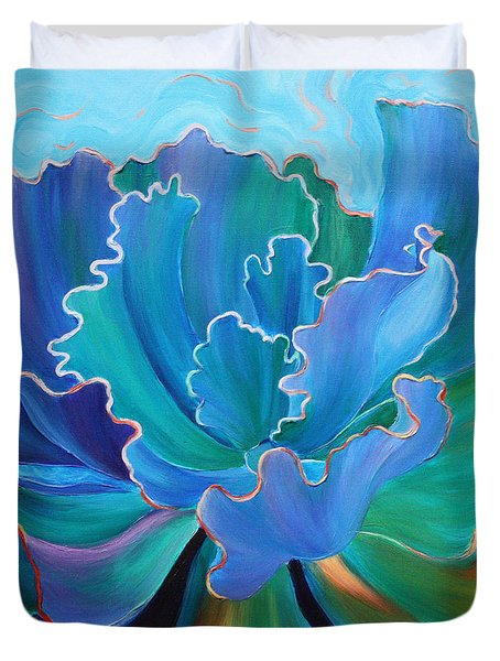 Duvet Cover featuring the painting Sapphire Solitaire by Sandi Whetzel