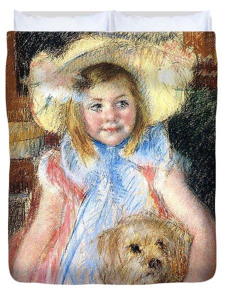 Sara And Her Dog Duvet Cover by Mary Stevenson Cassatt