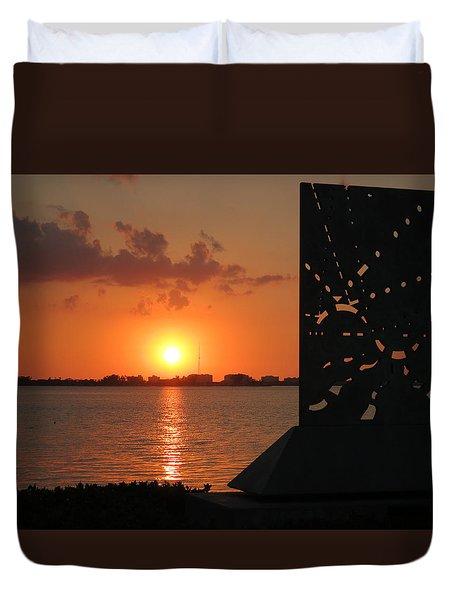 Sarasota Bay Sunset Duvet Cover