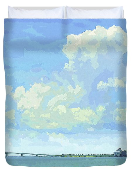 Sarasota Skyline From Sarasota Bay Duvet Cover