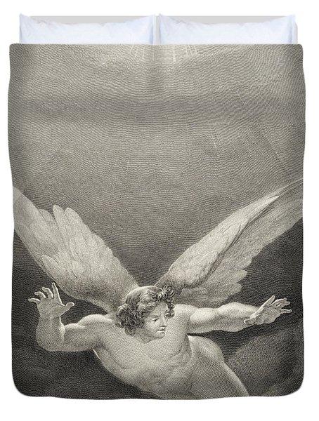 Satan Leaps Over The Walls Of Heaven Duvet Cover