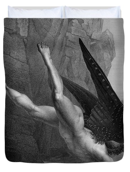Satan Plunges Into The River Styx Duvet Cover