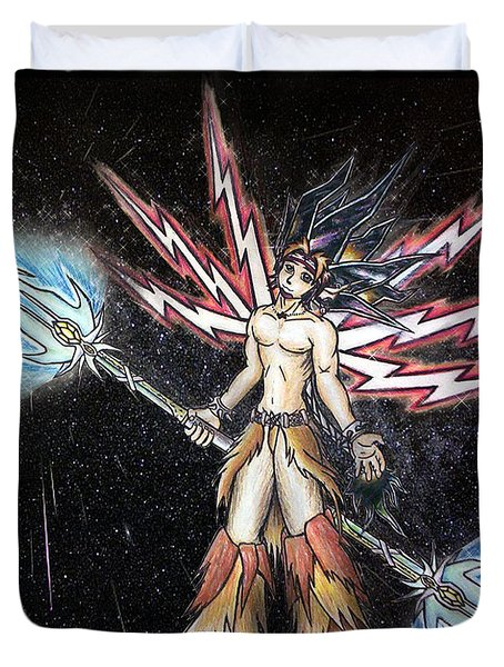 Satari God Of War And Battles Duvet Cover