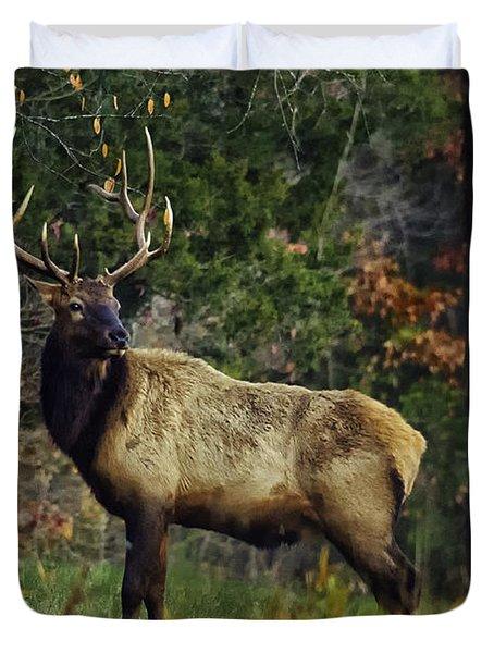 Satellite Bull Along Tree Line Duvet Cover