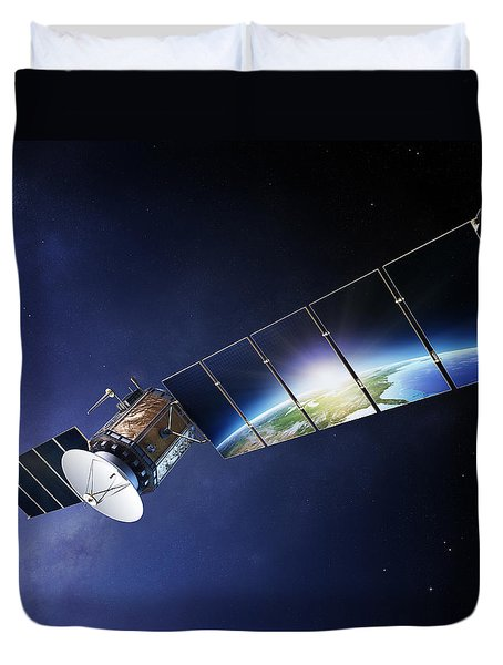 Satellite Communications With Earth Duvet Cover