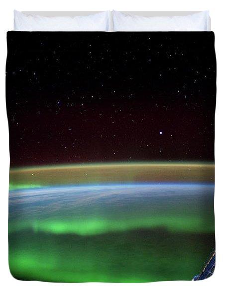 Satellite View Of Aurora Borealis Duvet Cover