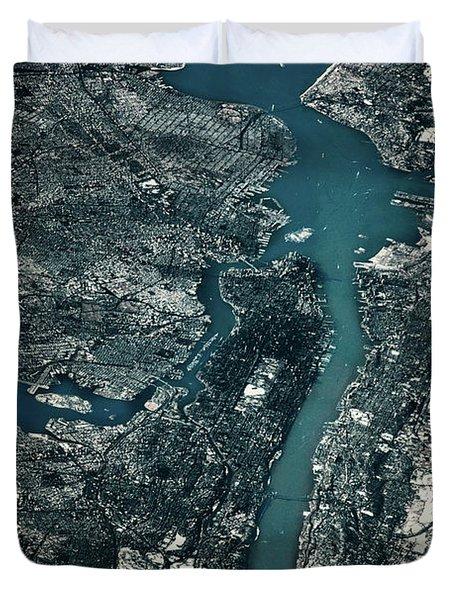 Satellite View Of Cities Of New York Duvet Cover