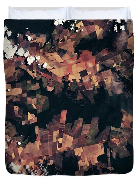 Satellite View Of Fields, Mato Grosso Duvet Cover