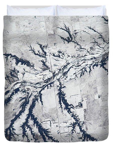 Satellite View Of Neobrara River Duvet Cover